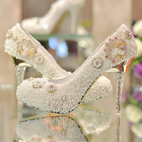 Cheap Best Sparkling Wedding Shoes Natural Pearls Crystals Rhinestone Bridal Shoes Golden Decoration High Heel Party Prom Women Shoe Free Shipping