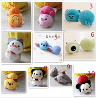 baby duck fabric - Tsum Elastic Kids Plush figure Pig Elsa Anna Micky Minne Donald Duck Winne Model hair bands Baby girls Gift headwear Rope
