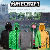 hoodies wholesale - Minecraft Hoodie Creeper Hoodie Coat Creeper jacket sweatershirts ZIP UP Child Hoodie for Halloween US youth size for kids boys