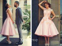 Wholesale Short Feather Prom Dress Cheap - 2017 Formal Evening Dresses Tea Length Short Prom Gowns Lace Applique Crew Neck Zip Back Satin Cheap Plus Size 2016 Bridesmaid Dresses