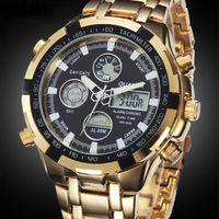 Wholesale QUAMER Military Watches Men Luxury Brand Full steel Watch Sports Quartz Multi function LED Display Wristwatch Relogio Masculino