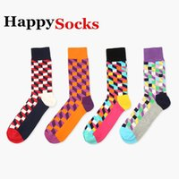 Wholesale New Fashion Happy socks style fashion high quality men s plaid socks men s casual cotton socks colors pairs