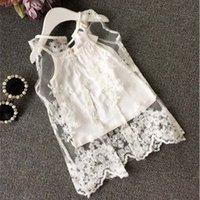Cheap Girls Condole Belt White Tank Tops Girl Dress Children Clothes Kids Clothing 2015 Summer Tank Tops Lace Shirt Girls Tops Kids Tshirts C8346