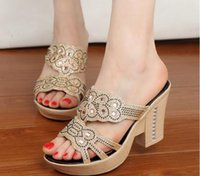 Wholesale The new summer diamond thick wedge bottom with hollow out sandals thick with high shoes