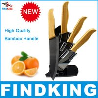bamboo utility - FINDKING Brand High sharp quality Bamboo handle with black blade Ceramic Knife Set quot quot quot quot inch Holder Stand CK