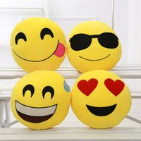 Wholesale Diameter cm Cushion Cute Lovely Emoji Smiley Pillows Cartoon Cushion Pillows Yellow Round Pillow Stuffed Plush Toy HHA29