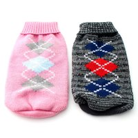 Wholesale Winter Pink Grey christmas dog Sweater Coat checker design pet diggie Jumper Jacket clothes sizes