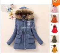 Wholesale 2015 Winter Coat Women korean style Casual Faux Fur Fleece Lined Down Jackets Cotton padded Outerwear Solid Military Parka Plus