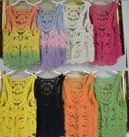 women tank top - New Summer Women Lace Tanks Top Vest hollow out Women Tank Top Shirt Sexy Lady Strap Vest Summer lady Tanks shirts Tops LJJD2247