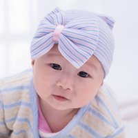 Wholesale Blanks Newborn Hospital Hat Beanie with Bow Infant Hat Baby Shower Gift via FedEx DOM1038044