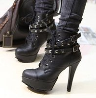 Wholesale New Fashin Women High Heel Platform motorcycle Sexy Autumn Ankle Boots Black Booties Pumps Shoes With Lace Up Buckle Size