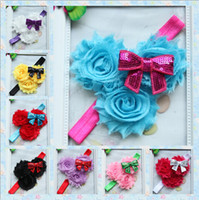 Headbands Blending Floral Shabby Flowers three superposition Rose flowers Sequins bowknot Children's hair band Baby head bands Cute Hair Bands 10pcs lot
