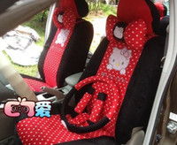 Wholesale 18 Hello Kitty Universal Red Car Seat Covers Bow Pillows for Seasons