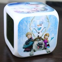 Wholesale Hot DHL Brand New LED Colors Change Digital Alarm Clock Frozen Anna and Elsa Thermometer Night Colorful Glowing Clock
