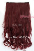 Wholesale CM Brown Color Long Women Synthetic Clip In Curly Hair Extension Hairpiece