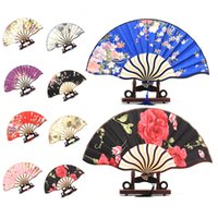 wood flower - Pretty Flowered Chinese Craft Handheld Folding Hand Fan Style