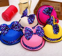 Wholesale 2014 Summer Princess cap Fashion Girls sun hats beach hat sun straw hat kids girls sun hat Polka Dot Minnie hat Bow decor