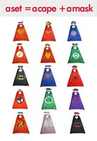 batman party favors - 2016 superhero capes mono layer capes and mask party favors Superman Spiderman Batman Captain America Ironman thor flash kids gift for party