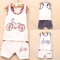 bicycle baby clothes - Boys pure cotton short Suit Baby summer outfits Vest pants bicycle star printing kids leisure clothes DHL MOQ sets SVS0341