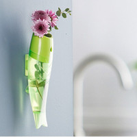Wholesale Fish Shape Vase Wall Mounted Removable Transparent Plastic Home Decor Creative Colorful Hydroponic Water Vases New