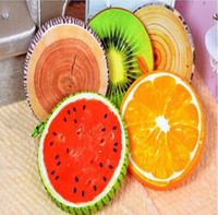 Wholesale New Fashion Fruit cushion Creative Fruit Removable and Washable Pillow Watermelon Cushion Plush Toy Kiwi Orange Seat Cushion Christmas Gifts