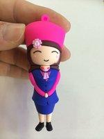 airs memory sticks - Beautiful Air hostess Cartoon USB Flash Drives Real GB GB GB GB GB Flash Memory Stick Cheap Pendrives Box