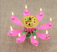 paraffin wax - 2016 New Velas Decorativas Newest Music Candle Birthday Party Wedding Lotus Sparkling Flower Candles Light Event Festive Supplies Ems free