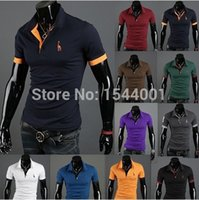Wholesale 2014 New Casual Men s Slim Fit Stylish Short Sleeve Shirts for man black white red green dark blue yellow M L XL XXL