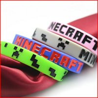 Wholesale 5 Colors Minecraft Bracelet Minecraft Creeper Wristband Minecraft Souvenir Silicone Rubber Wristbands Bracelets Sports Wrist Band Pieces
