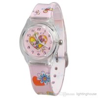 Cheap dh Hot! Wholesale High Quality Cartoon Plastic Cement Band Girl's Kid's Wrist Watch Water Resistant