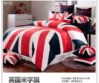 bedspread uk - UK flag bedding set wm flag bed set letter bed clothes velour bed linens British Union Jack bedding blue bedspread red cross5112