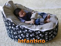 Wholesale PIRATE SKULL WITH GREY SEAT Polyester and plush baby sofa baby bed baby bean bag
