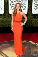 award decorations - 2016 Golden Globe Award Amy Adams Orange Jewel Neck Waist Decoration Celebrity Dresses Backless Sheath Red Carpet Dresses Runaway Dresses