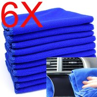 Wholesale 6 Blue Polish Microfiber Absorbent Soft Towel Glass Door Car Cleaning Wash Hot
