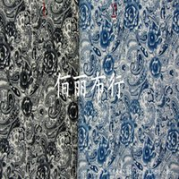 ash spot - The spring of ladies clothing fabrics Printed silk linen cloth Dark blue ash bottom cloth spot