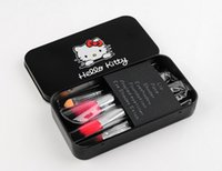 best appliances - 2015 Black Hello Kitty Make Up Cosmetic Brush Kit Makeup Brushes Black Iron Case Toiletry Beauty Appliances set Best Gift