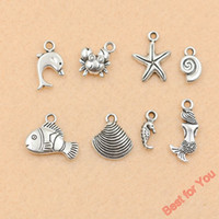 Wholesale 120Pcs Mixed Tibetan Silver Tone Mermaid Fish Shell Starfish Charm Pendant Jewelry Making Craft DIY Handmade