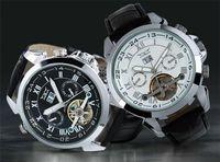 JARAGAR uomini di cuoio di vigilanza numero d'oro mens immersione meccanici automatica della data orologi da polso di lusso sportive