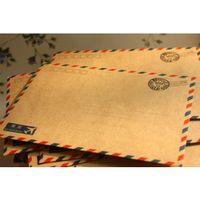 beauty stationary - 10pcs Hot Beauty Antique Coffee Distinctive kraft Air Mail Retro Postcard Envelope Stationary Paper Xmas Gift