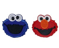 Wholesale 2016 new arrival Blue red Sesame Street Elmo Embroidered Iron On Patch Applique Badge Children Cartoon Patch