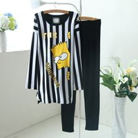Wholesale Sexy Clothes For Women Sleep - Wholesale-new cute cartoon Pyjamas 2015 Korean autumn long sleeve striped clothing for women cotton sleep wear with leggings 1359