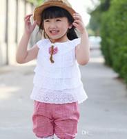 Wholesale New Summer Lace T Shirt And Lattice shorts Pants Children Clothing Set Kid Girl Clothes Set Colors