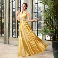 Wholesale 2015 New Formal Long Evening Dress Gold Beading Halter Special Occasion Dress High Quality Satin Formal Prom Dress