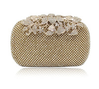 Wholesale 2015 New Both Side Diamond Flower Crystal Evening Bag Clutch Bags Upscale Styling Day Clutches Lady Wedding Purse