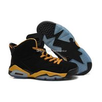 Wholesale 2015 Basketball Shoes VI Retro VI OVO Owl Basketball Shoes Mens Shoes Sports Shoes Size US8 Colorway Black Gold Cheap Price