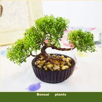 Cheap Wholesale-(3 colors) Decorative flowers pots planters artificial plants bonsai pine tree real touch fake plant potted on the desk