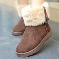Wholesale Winter Snow Boot Women Fashion Man Made Fur Buckle Motorcycle Ankle Boots Shoes W2059