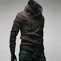Wholesale Sweater Zippers Sleeves - Assassin's Creed Men's Slim oblique zipper sweater coat jacket Hoodie jacket free shipping