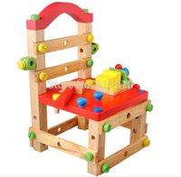 Wholesale multi purpose wooden work chair baby removal and mounting chair screw nut combination assembly toy tool chair