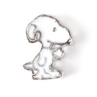 Wholesale New Arrival On Sales White Enamel Lovely Puppy Dog Floating Charms Lockets Charms Animal Charms In Bulk